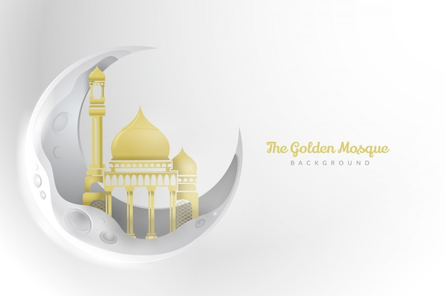 Gouden moskee achtergrond Premium Vector