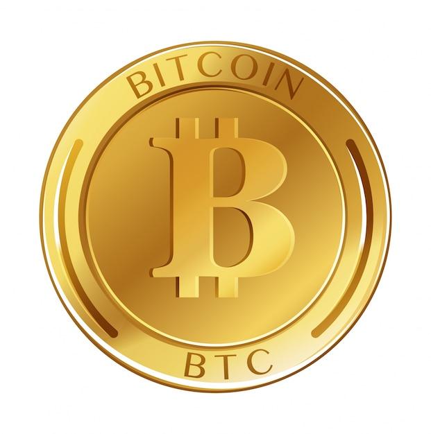 Gouden munt met bitcoin van woord Gratis Vector