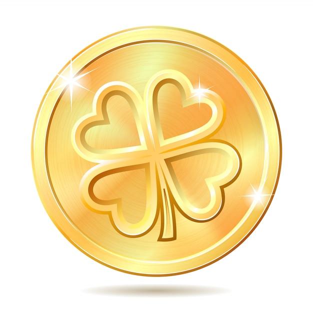 Gouden munt met klaver. Premium Vector