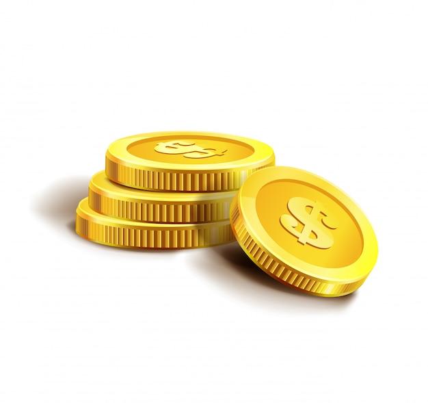 Gouden munten geïsoleerd op wit. Premium Vector