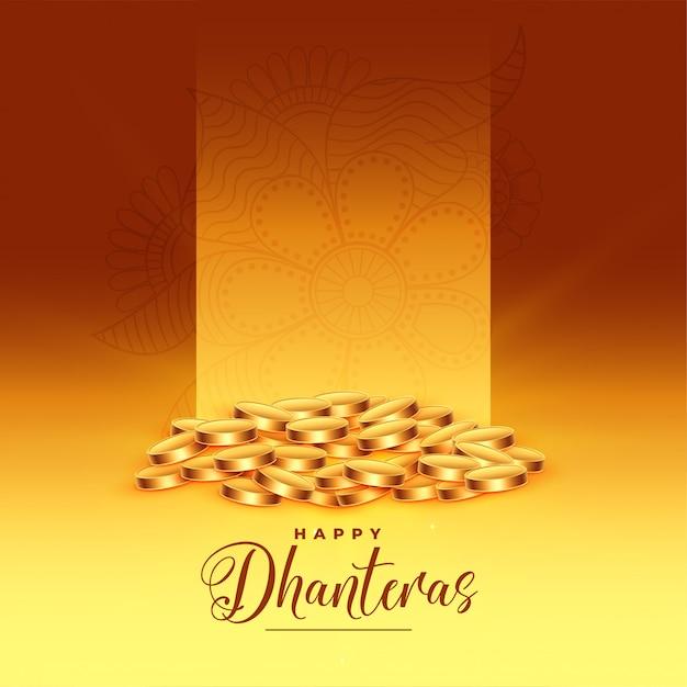 Gouden munten gelukkige dhanteras festival wenskaart Gratis Vector