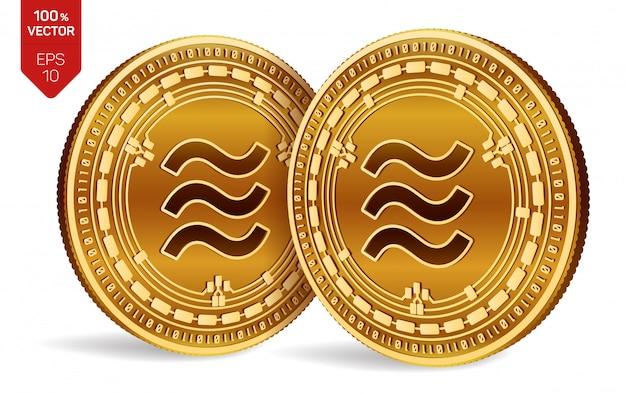 Gouden munten met weegschaal symbool geïsoleerd op wit Premium Vector