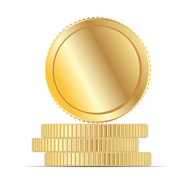 Gouden muntengeld stapel platte vectorillustratie. Premium Vector