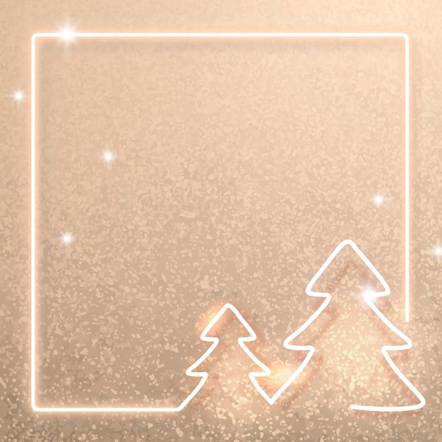 Gouden neon kerst frame achtergrond Gratis Vector
