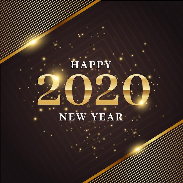 Gouden nieuw jaar 2020 achtergrondconcept Gratis Vector