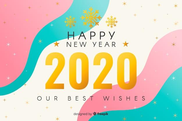 Gouden nieuw jaar 2020 met vloeiende achtergrond Gratis Vector