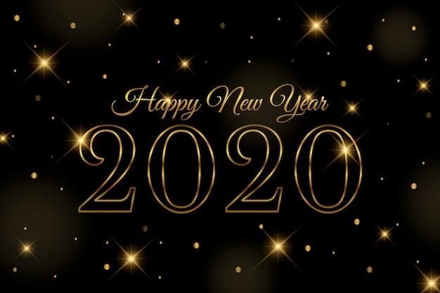 Gouden nieuwe jaar 2020 achtergrond Gratis Vector