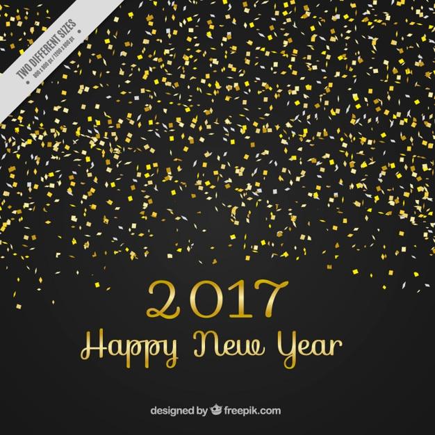 Gouden nieuwe jaar cofetti op zwarte achtergrond vector gratis download - Jaar wallpapers ...