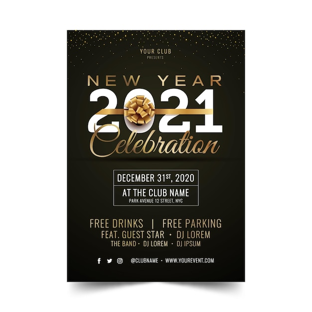 Gouden nieuwjaar 2021 partij poster sjabloon Gratis Vector