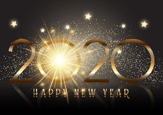Gouden nieuwjaarachtergrond met fonkelingseffect Gratis Vector