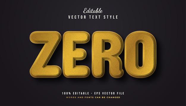 Gouden nul-tekststijl met textuureffect Premium Vector