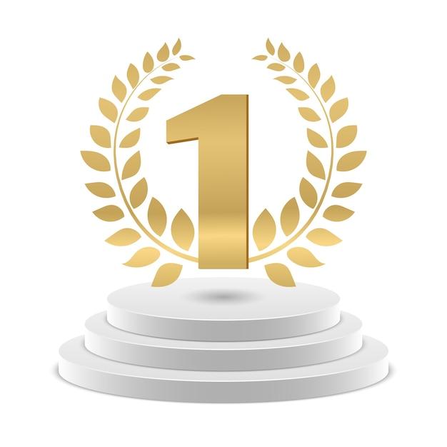 Gouden nummer 1 en krans op podium Premium Vector