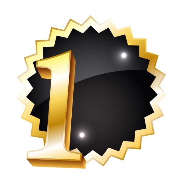 Gouden nummer een badge Gratis Vector