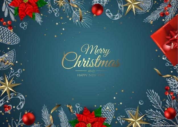 Gouden ornamenten kerst achtergrond Premium Vector