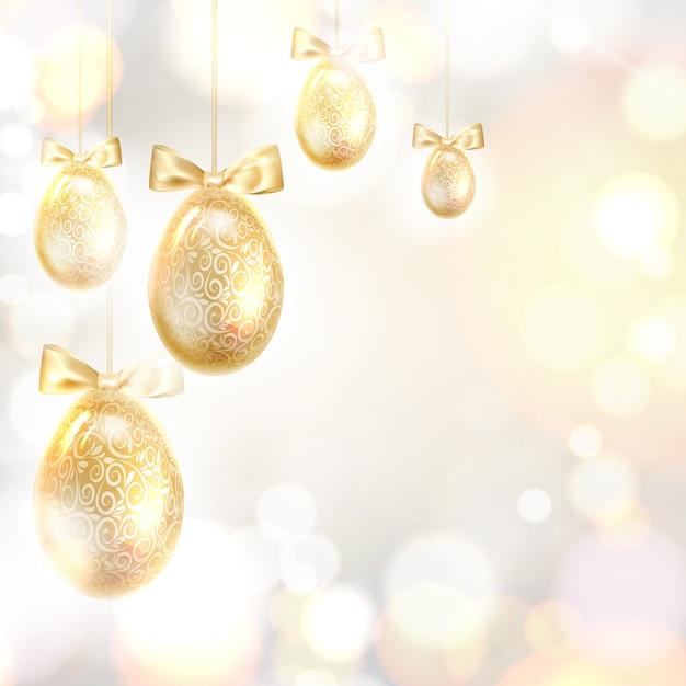 Gouden paaseieren over wazig bokeh en grijze achtergrond. Gratis Vector