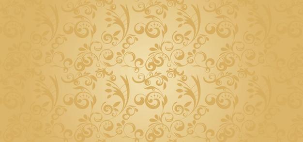 Gouden patroonbanner in een gotische stijl Premium Vector