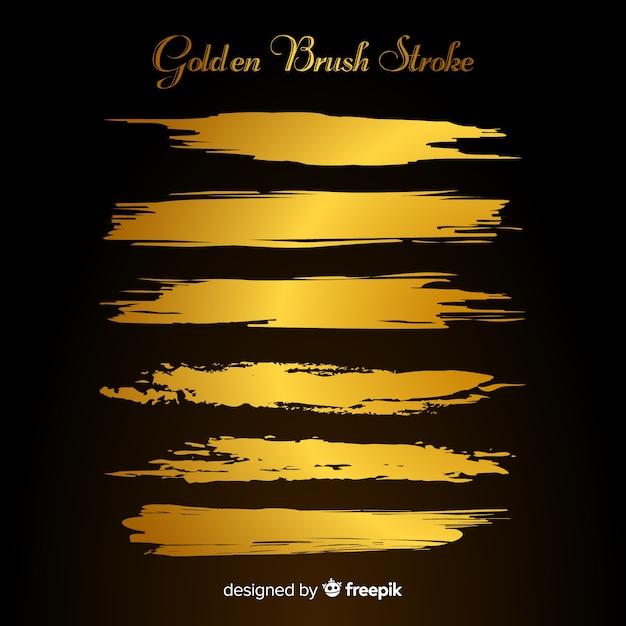 Gouden penseelstreek collectie Gratis Vector
