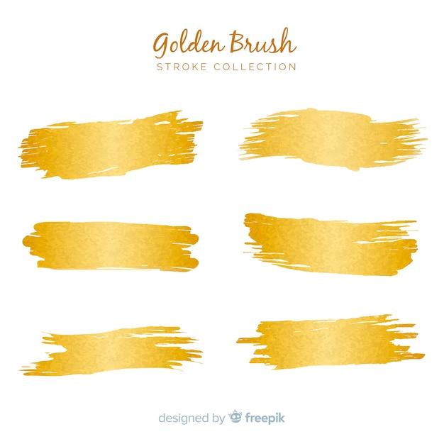 Gouden penseelstreeppakket Gratis Vector