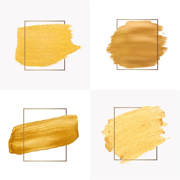 Gouden penseelstreken collectie Gratis Vector