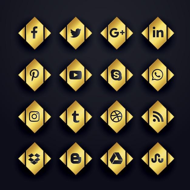 Gouden premium sociale media iconen set Gratis Vector