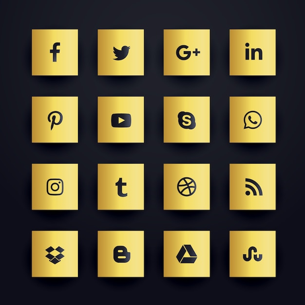 Gouden premium sociale media iconen set Gratis Vector