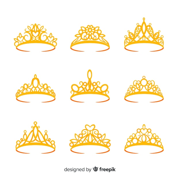 Gouden prinses tiara collectie Gratis Vector