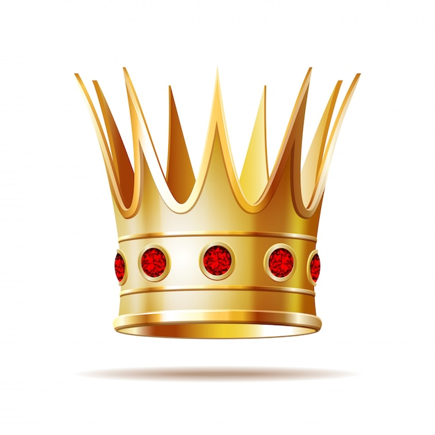 Gouden prinseskroon op witte achtergrond. Premium Vector
