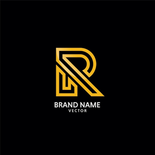 Gouden r-symbool logo template vector Premium Vector
