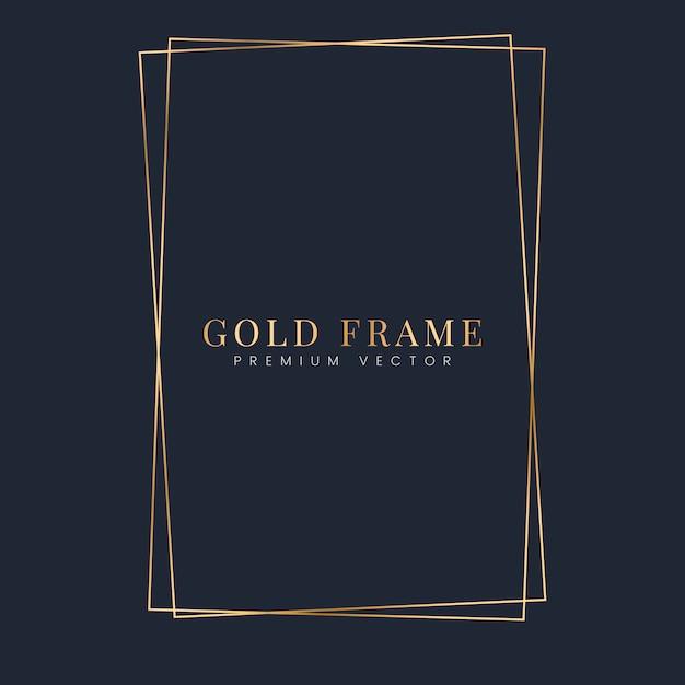 Gouden rechthoek frame sjabloon vector Gratis Vector