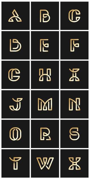 Gouden retro alfabetten vectorreeks Gratis Vector