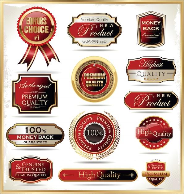 Gouden retro vintage badges en labels Premium Vector
