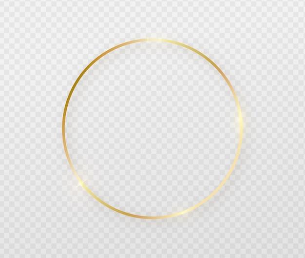 Gouden rond frame met lichteffecten. Gratis Vector