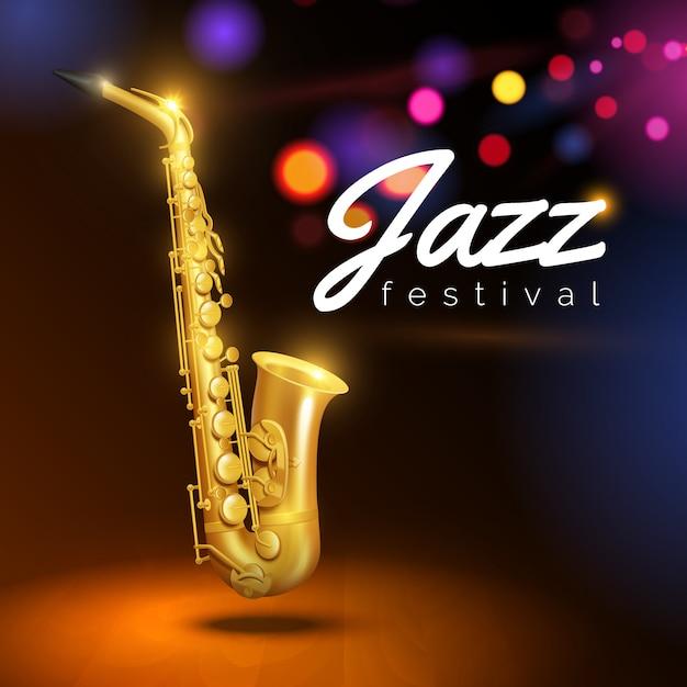 Gouden saxofoon op zwarte achtergrond Gratis Vector