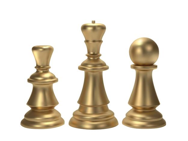 Gouden schaak voor idee concept Premium Vector
