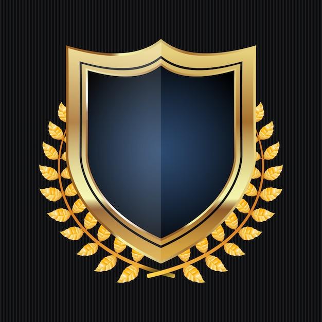Gouden schild met lauwerkrans Premium Vector