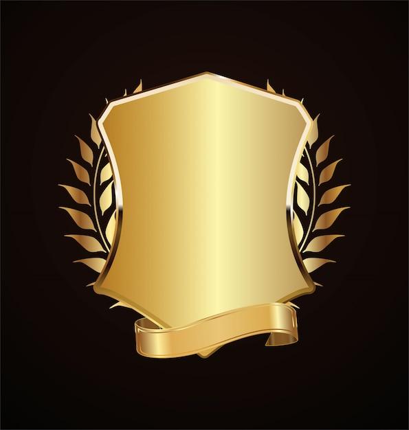Gouden schild retro ontwerp Premium Vector