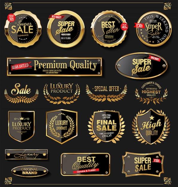 Gouden schilden lauwerkransen en badges collectie Premium Vector