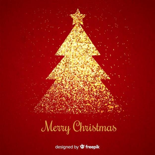Gouden schitter kerstmisboom op rode achtergrond Gratis Vector