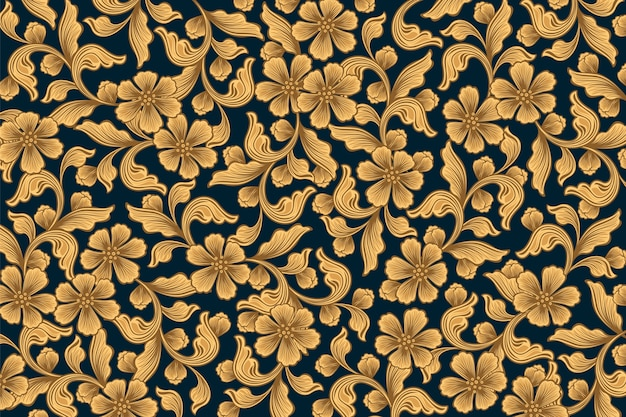 Gouden sier bloemenbehang Gratis Vector