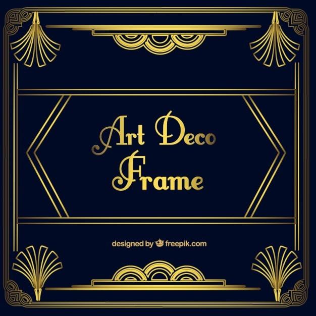 Gouden sier frame in art deco-stijl Gratis Vector