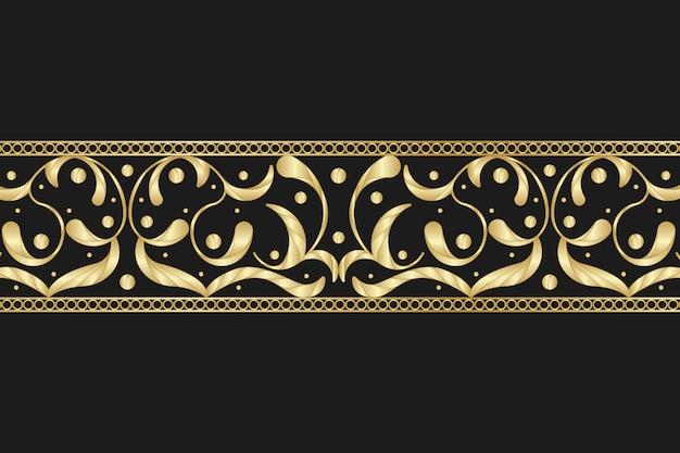 Gouden siergrens op zwarte achtergrond Gratis Vector