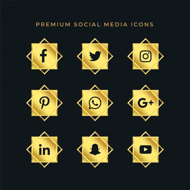 Gouden sociale media iconen set Gratis Vector