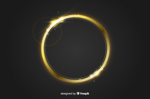 Gouden sprankelend frame op zwarte achtergrond Gratis Vector