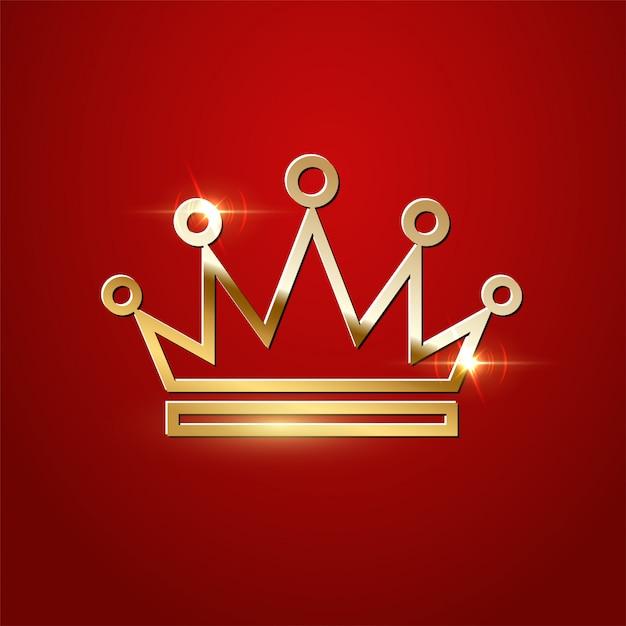 Gouden sprankelende kroon geïsoleerd Premium Vector