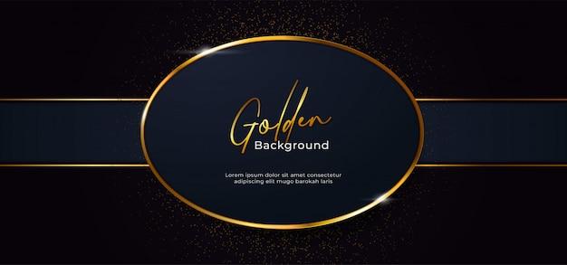 Gouden sprankelende ovale vorm met gouden glitter effect achtergrond Premium Vector