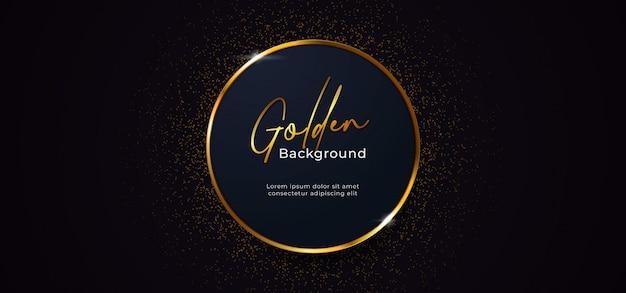 Gouden sprankelende ringcirkel met goud glitter decoratie-effect op donkerblauwe achtergrond Premium Vector