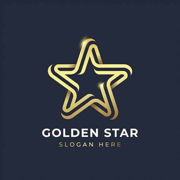 Gouden ster logo sjabloon Premium Vector