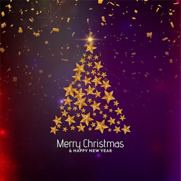 Gouden sterboomontwerp voor vrolijke kerstmisachtergrond Gratis Vector