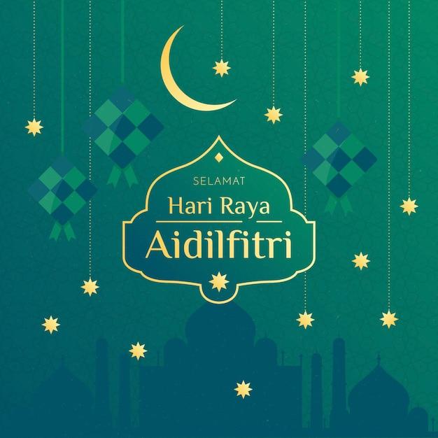 Gouden sterren en moon hari raya aidilfitri-evenement Premium Vector