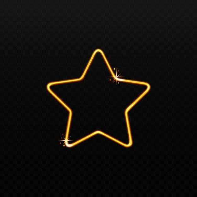 Gouden stervorm gemaakt van sprankelend magisch licht op zwarte achtergrond Premium Vector